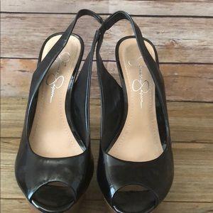 Jessica Simpson heeled peep toe sling back